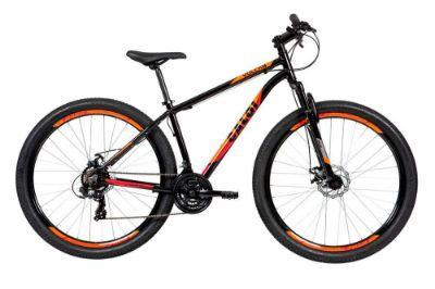 Bicicleta Caloi Vulcan Aro 29, Câmbio Traseiro Shimano, Freio a Disco Mecânico, Preto