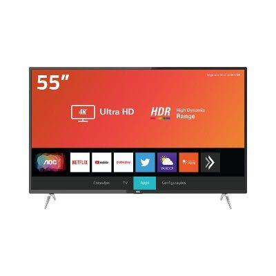 Smart TV LED 55″ AOC 55U6295-78G Ultra HD 4K Wi-Fi, HDR, Xmart Preta com Conversor Digital Integrado