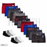 Kit Com 12 Cuecas Boxer Sem Costura Lisa Super Confort Ocean + 6 Pares De Meia