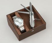 Kit de Relógio Analógico Mondaine Masculino + Canivete – 99144G0MVNE3K1 Prateado